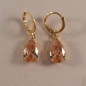 18K Gold Champagne Crystal Pear Shape Earrings GF